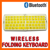 10pcs WHOLESALE -Wireless Bluetooth 3.0 Folding Keyboard For iPad iPhone Samsung Android Tablets PC Desktop Smartphones - Yellow