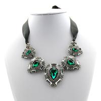 Free shipping wholesale 2014 new multicolor satin rhinestone chunky necklace