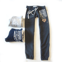 Aero fabric ultra soft color block letter decoration ultra soft health pants trousers autumn pants