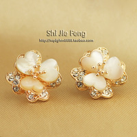 Fashion vintage jewelry four leaf clover crystal - eye stud earring earrings female