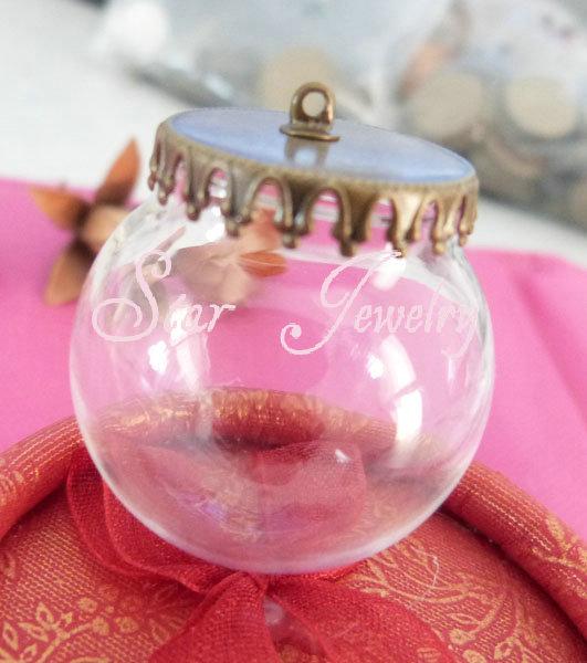 30pcs 20*30mm glass globe bottle+flat crown bronze tray+4mm flat top connector/#GF(China (Mainland))