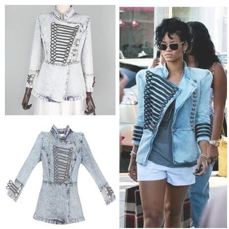 Runway boutique brand designer Women vintage royal court style handsome shrug casual Denim jacket free shipping(China (Mainland))