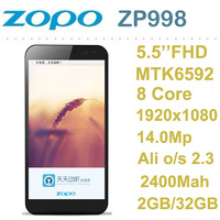 Pre-sell 5.5 inch Mobile phone True Octa Core MTK6592 ZOPO ZP998 (C2 II) 1920X1080 FHD screen 401 ppi 2GB/32GB 14.0Mp camera