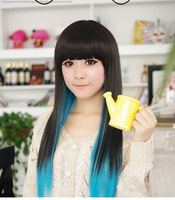 Women Black+Blue Cute Punk Party Bar cosplay Dress straight wigs wig long Hair