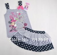 wholesale lot 2014 Summer Girls Clothing Minnie Mouse Baby Girls Clothing Sets Kids Sets Children's Set Sleeveless T-shirt+skirt