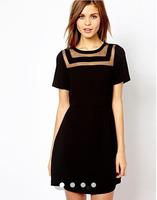 New fashion 2014 Fashion dress black Patchwork dress sexy women dresses sexy women elegant black