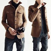 New Fashion Design Man Slim Fit Clothes Warm Winter Jackets Mens Wool Blend Coat