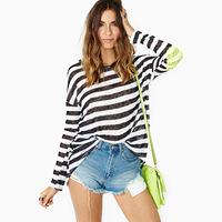 2014 new arrival  black-and-white stripe long-sleeve o-neck loose paillette medium-long patchwork t-shirt basic shirt