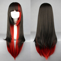 Hot New Long Charm Lolita Red Black Red Mixed Straight Anime Cosplay Party wig