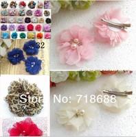 32colors wholesale 2 inch mini chiffon pearl  diamond  flowers Clip   DIY Photography Props 50pcs/lot