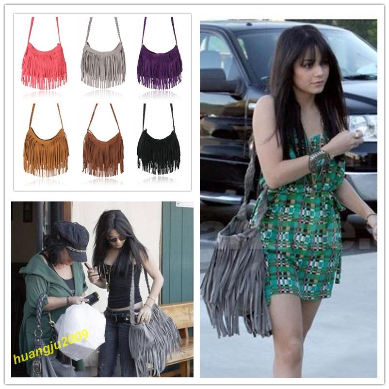 Free Shipping!Hot Sale Celebrity Tassel Suede Fringe Shoulder Messenger Handbag Cross Body Bag(China (Mainland))