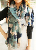 Free Shipping !2013! Europe the latest Graffiti Ink Flowers Gradient Authentic Voile Women Scarves Shawl,L-803A
