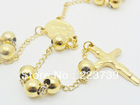 Hot Fashion Jewelry 1X Men's Necklace Stainless Steel 8mm Gold Shing Rosary Link Chain Necklace Gift