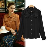2013 autumn women's fashion high quality chiffon lace turn-down collar chiffon loose 9090