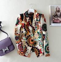 2013 women's spring outerwear print small elegant slim casual blazer