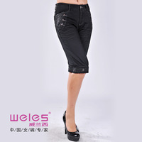 Weles weles pants autumn and winter plus velvet thickening thermal slim denim boot cut jeans a4n6019
