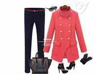2013 women's woolen overcoat slim medium-long double breasted women's fashion woolen outerwear