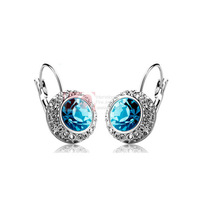 LQ Fine Jewelry Light Blue Color Women's Earrings Moon River White Gold Plated Fashion 2014 Free Shipping Crystal Hoop Earrings