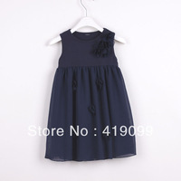 Brand new 2013 Baby Girls new chiffon dress rose printed girl wedding sleeveless dresses children summer clothes(blue,red)