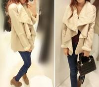 2014 New Brand Bershka Women's Chamois Large Lapel Slim Outerwear Fur One Piece Women's Winter Jacket Fur Leather Coat Size S M