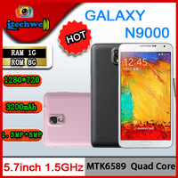 N9000 HOT note3 mtk6589 quad core 1280*720 RAM1GB+ROM8GB 5.7inch IPS capacitive screen 8mp 3200mah Detachable andriod phone