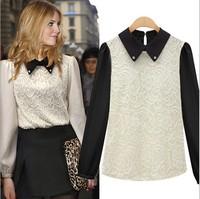 Fashion women's 2013 autumn women's basic shirt rhinestone fashion turn-down collar lace chiffon shirt 3661