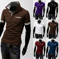 HOT Selling 2013 New Grid Color Matching POLO Men Short Sleeve T Shirts