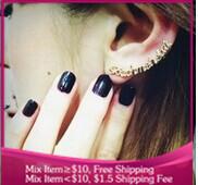 B254 punk style letter Stud earrings Ear clip jewelry for women (Single price)