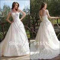 Cheap A Line One Shoulder Appliqued Court Train Tulle Suzhou Wedding Dress