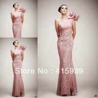 Famous Designer One Shoulder Lace Elastic Satin Floor Length Long Events Dress Evening Dress Free Shipping WL267