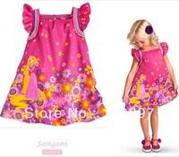 Retail 1pcs 2014 new style girl princess dress Rapunzel dress pattern children's clothing free shipping