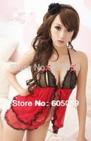 Open bra open front black red braces skirt sexy erotic lingerie new women Lenceria cloth G string ul469