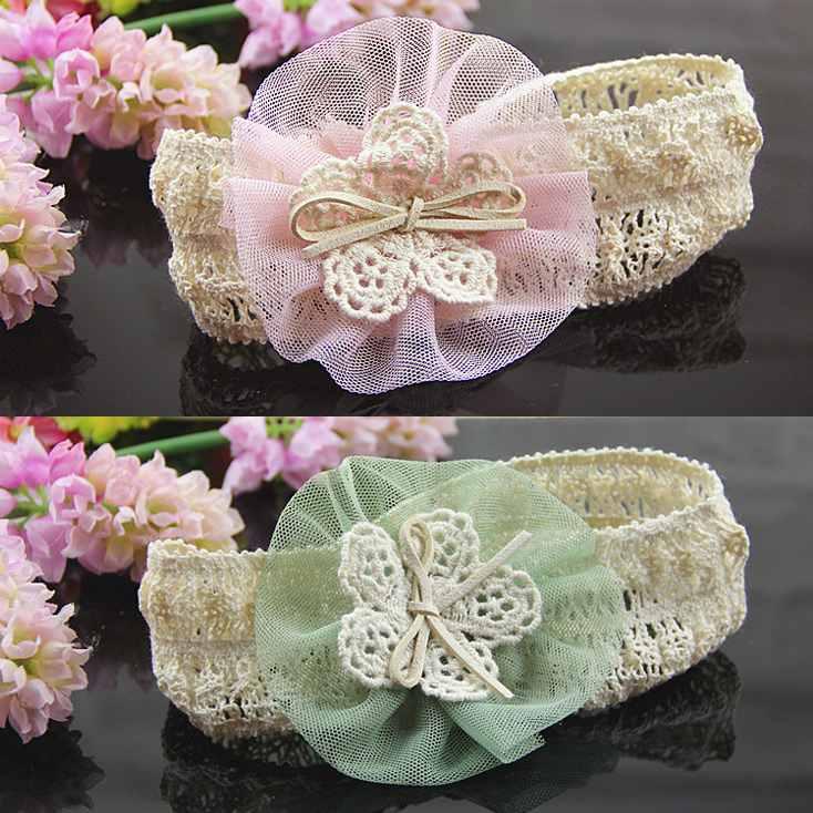 2pcs/lot Lovely Children Cotton Elastic Chiffon Flower Headbands Kid's Baby Girls Headwear infant Acessories Free Shipping(China (Mainland))