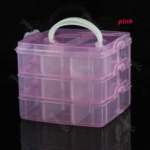 1PC Multi Utility Storage Case Box 3 Layer Nail Art Craft Fishing Makeup Tool Free Shipping(China (Mainland))