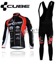 2013 NEW!!! CUBE #1 team long sleeve autumn bib cycling wear clothes bicycle bike riding cycling jerseys bib pants set