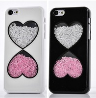 Luxury Bling Diamond Colorful Crystal Heart Skull Couple Hard Back Cases Cover For Apple iphone 5C Defender Skin 0291