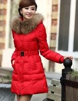 2014 Hot-selling women's winter medium-long big moveable raccoon fur slim down overcoat Parkas jacket outwears warm coat