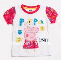 FREE SHIPPING K4028# 18m/6y 5pieces /lot tunic top pig embroidery summer short sleeve T-shirt