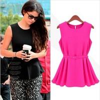 Womens Chiffon blouse Top Sleeveless Shirt Silm Vogue Trend Blouse Shirt candy color Chiffon top with Belt Peplum S-XL