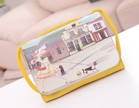Fashion Yellow color Beauty Shopping Printing PU Leather Shoulder Bag cross-body small bags little princess handbag