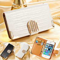 Soft Feel Leather Flip Wallet Stand Case for iPhone 4 4S 4g Mobile Phone Bag for iPhone4 Luxury Cover with Card Holder