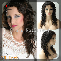 "120% Density! Brazilian Human Hair Full Lace Wigs Natural Color  10""18""20"" Deep Wave Brown Lace A28"