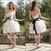 Mini Ball Gown Strapless Black Sash Ruffles Organza 2013 Sexy Short Wedding Dress