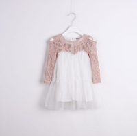 New 2013 baby girl summer lace embroidery chiffon patchwork dress girls evening dress chilren clothes 6pcs/lot