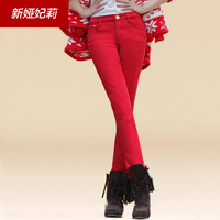Plus velvet thickening jeans female elastic candy multicolour pencil long trousers