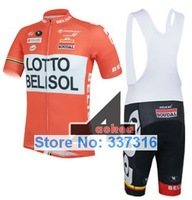New bicycle clothing set! 2014 LOTTO BELISOL Cycling Jersey Short Sleeve and bicicleta bib Shorts / triathlon ropa ciclismo men