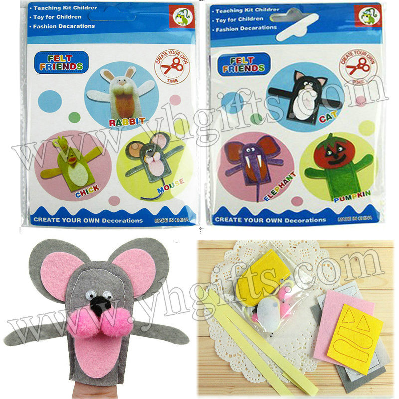 10BAGS/30PCS/LOT.Felt finger puppet craft kit,Create your own decorations,Hand puppet.Intelligence toy,6 design.8x9.5cm.(China (Mainland))