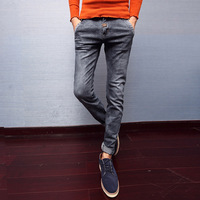 Slim skinny pants male autumn and winter trousers the trend of tight-fitting jeans male black elastic jeans