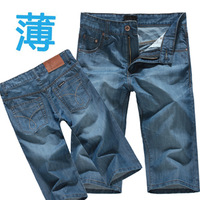 2013 male loose denim capris casual denim knee-length pants men's water wash thin shorts male