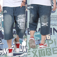 Male hiphop print denim capris thin breathable plus size loose denim capris